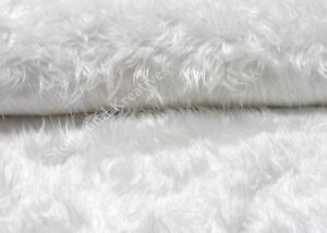 Zottelstoff Fell weiß Plüsch Kunstfell Bart basteln Weihnachten 25 cm