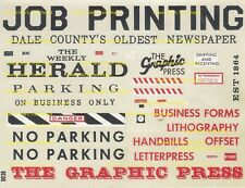 Newpaper, Printer's Building assorted Signs O Scale Water Transfer Decals