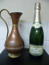 A VINTAGE, COPPER WATER JUG /  COPPER & BRASS URN / COPPER & BRASS FLOWER VASE