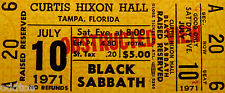Black Sabbath, Unused 1971 Concert Ticket, Ozzy, Heavy Metal, Yellow obstructed