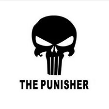 THE PUNISHER Skull Head Car Window Bumper Vinyl Reflective Sticker Decal Black