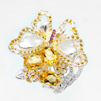 Animal handmade style Gemstone Natural Citrine 925 Sterling Silver Ring/ RVS68