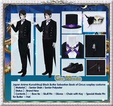 JP Anime Kuroshitsuji Black Butler Sebastian Book of Circus Cosplay Costume