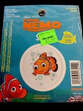 "Vintage X Stitch Kit: Disney Pixar Finding Nemo frame included #18ct 2.5"" round"