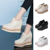 Women Wedge Platform Lace Up Sneakers High Heel Pumps Studded Rivets Shoes Punk