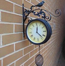 Orologio da parete nero all'aperto Bird Antico Shabby Vintage ORNATA DA GIARDINO IN METALLO RUSTICO