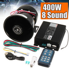 400W 8 Sound Loud Car Alarm Police Fire Warning Siren Horn Speaker PA MIC System
