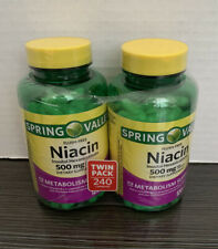 New Spring Valley Flush Free Niacin 500mg 120 Capsules Each, (Lot Of 2)