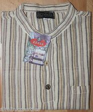 Grandad Cotton Bares Colorful Strippy Shirts Traditional Hippy Boho Indian Kurta