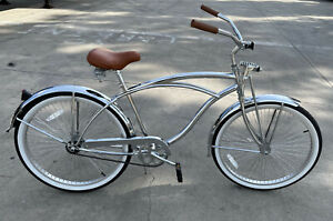 "Micargi Cougar GTS Chrome Men's 26"" Beach Cruiser Bicycle Bike 68 spokes"