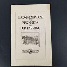 Vintage US Department of Agriculture Beginner Fur Farming Leaflet No 27