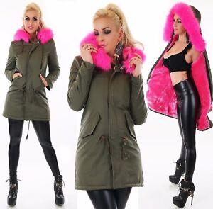 Sexy Ladies Long Parka Jacket Coat Faux Fur Cuddle Cozy Lining Pink Black Khaki