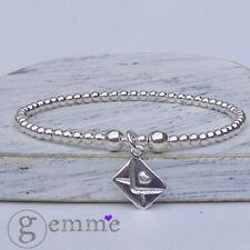Pendientes de plata esterlina pulsera de apilamiento de estiramiento con doble cara carta de amor encanto