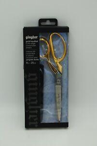 """Gingher RH Gold-Handled Knife-Edge Dressmaker Shears / Scissors 8"""", #1255 NEW"""