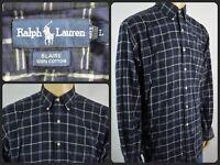 Ralph Lauren Blaire Navy Blue Tartan Plaid Btn Front L/S Casual Shirt Mens Large