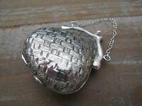 Unusual Novelty Sterling Silver Hand Bag / Purse Shaped Vesta Case Or Box