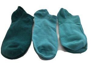 Women's No Show Socks Size 7-9 Dark & Light Teal (set of 3 pars) NWOT