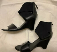 Franco Sarto Women's Black Sandals Leather Wedge Heels Ankle Wrap Shoes Size 8 M
