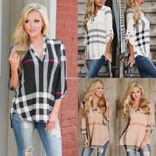 Fashion Womens Blouse Striped Plaid Long Sleeve Ladies T Shirt Loose Casual Tops