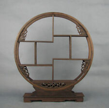 "Chinese round Ji-chi wood rosewood flower design new stand/shelf display 17.1"""