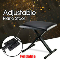 Adjustable Folding Piano Keyboard Bench Padded Soft Seat Portable Stool Chair