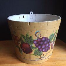 Antique Vintage Tole Painted Wooden Sap Bucket