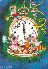 1990 Russian NEW YEAR card Mice dance and play music around pocket watch