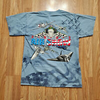 2002 All Over Print Air Show Double T Shirt Size M Blue Angels US Air Force