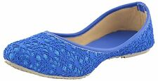 US 9 Indian Handmade Khussa Flat Ethnic Mojari In Blue Color For Women