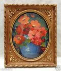 """Floral Oil Painting on Canvas in Elegant Gold Antique Style Photo Frame 10x12"""""""