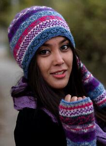 Light Blue Multicolored Pure Woolen Winter Sherpa Cap WO58C