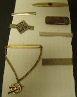 HICKOK TIE BAR LOT of 7 Clip Clasp Chain SWANK Gold Tone Vintage