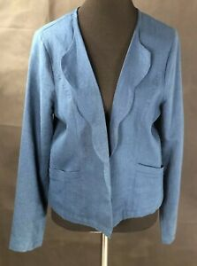 Womens JUST FAB Blue Scalloped Collar Linen Jacket Large Open Front NWT