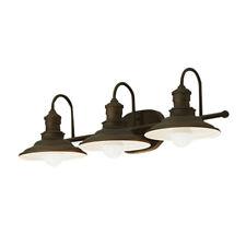 Allen Vanity 3 Light Aged Bronze Bathroom Wall Lighting Cone Dimmable Downlight