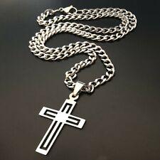 Collana con croce in acciaio inox catena rapper 50 cm con ciondolo crocifisso