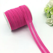 """5yards 5/8""""16mm Bilateral Lace Grid Fold Over Elastic Spandex Lace Band Rose"""