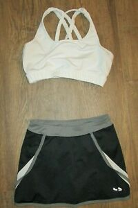 "White Varsity Sports Bra Top Size 32 + Black White Champion Skirt W/ Briefs 23"""