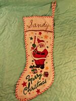 "Vintage Merry Christmas 17"" Christmas Stocking w/ Santa Claus Gifts & Stars"
