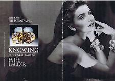 PUBLICITE ADVERTISING 094 1989 ESTEE LAUDER Knowing le nouveau parfum (2 pages)