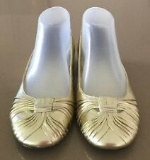 Gorgeous Gold Leather DIANA FERRARI Ballet Flats Size 7.5