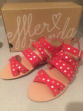 NIB Loeffler Randall Karin red silver grommets strappy sandals 40.5- $295