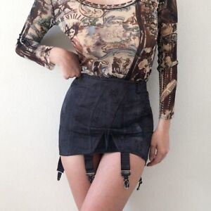 sororite vintage satin brocade dyed black lace up corset girdle skirt