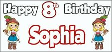 Girl Pirate 8th Birthday Banner x 2 - Party Decorations - Personalised ANY NAME