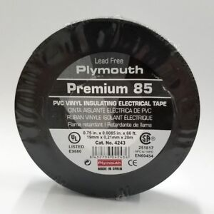 """Tape Plymouth Rubber Premium 85 #4243, 3/4"""" x 66Ft Roll of Vinyl Insulating Tape"""