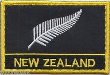 New Zealand Silver Fern Flag Embroidered Patch Badge - Sew or Iron on