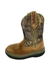 John Deere youth boys camouflage brown leather boots slip on size 9M