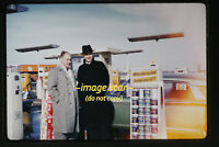 1961 Men at Shell Gas Station, Car, Pumps Oil Can, Original 35mm Slide a8a