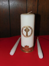 IRISH CELTIC CLADDAGH BRASS BASE WEDDING CANDLE SET