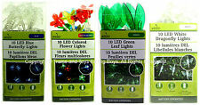 10 LED LIGHTS SET OF 4 DIFFERENT STYLES Butterfly Flower Leaf Dragonfly New I