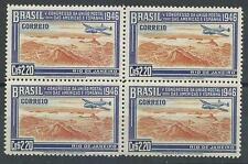 Brazil 1946 Sc# 649 Postal Union Congress US Spain Plane $2.20 block 4 MNH